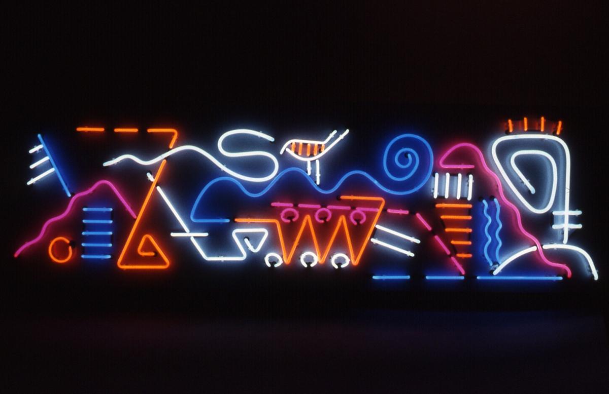 "<em>Noah's Neon,</em>. 1992 Neon, 24"" x 72""."