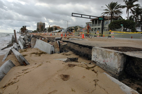 Damage along coastal highway A1A caused by waves and surges driven by Hurricane Sandy.