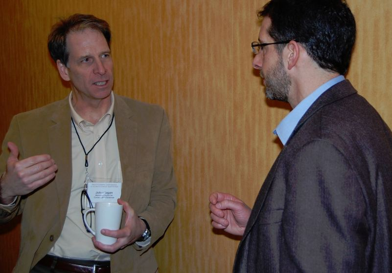 John Hagan of the Manomet Center for Conservation Sciences talks with Kresge's John Nordgren during the workshop.