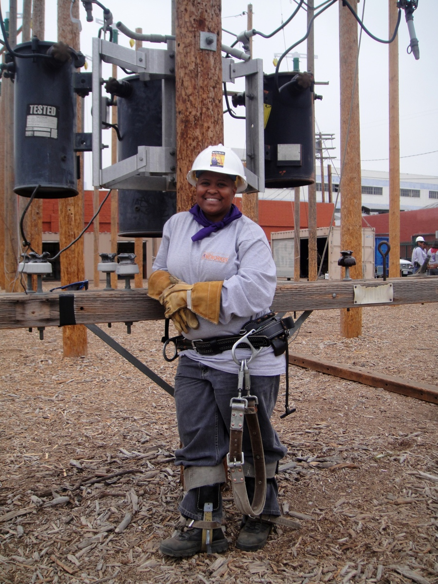 Kim Allen was homeless when she entered Los Angeles Trade-Technical College's electrical lineman program. She expects to earn $80,000 this year.