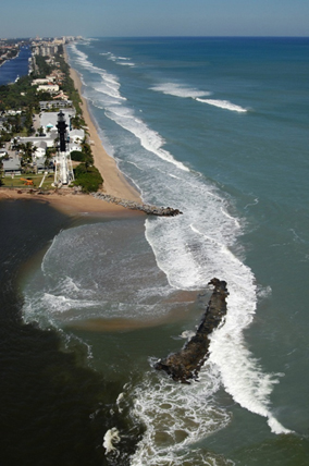 Erosion damage along Florida's southeast coast. Rising sea levels threaten to inundate billions of dollars worth of property in the region.