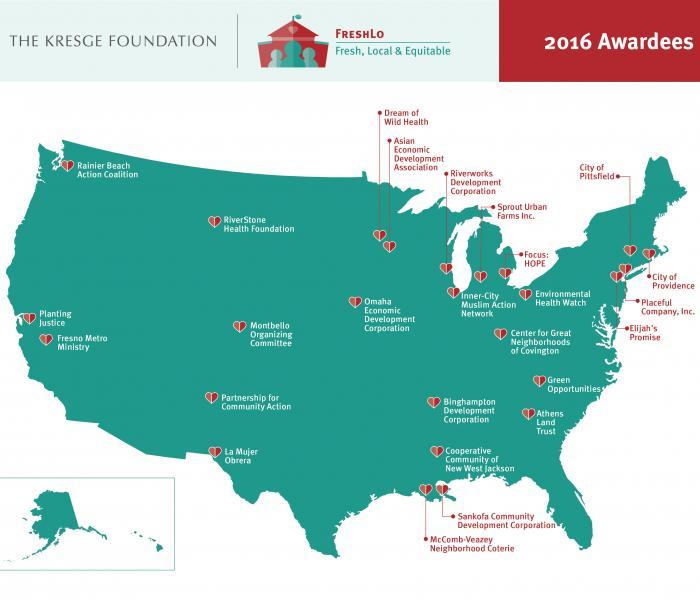 A map of Kresge #FreshLo Awardees
