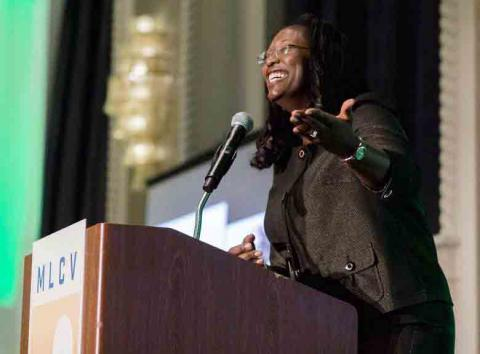 """Jalonne White-Newsome addresses the Michigan League of Conservation Votersafter being named the organization'sMichigan """"Advocate of the Year."""""""