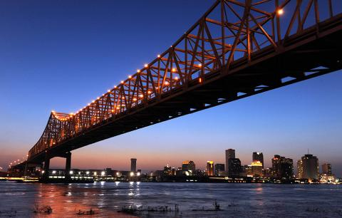 The skyline of New Orleans along the Mississippi River