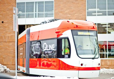 An M-1 streetcar rolls out of the Penske Tech Center for the first time