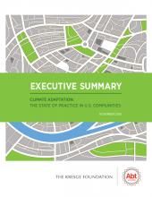 An image of the cover of the executive summary for Climate Adaptation: The State of Practice in U.S. Communities