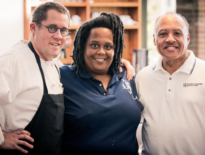 Chef Liam Luttrell-Rowland, Shuvonda Harper and Roy Harris of Green Opportunities