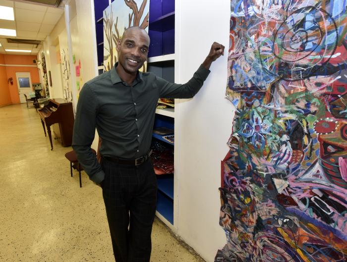 Quincy Jones, of the Osborn Neighborhood Alliance, stands in basement of the Matrix Center that has been converted into an art space for youth in the Osborn neighborhood of Detroit.