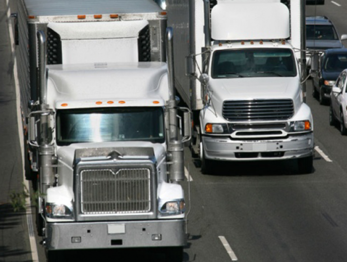 Semi trucks on freeway