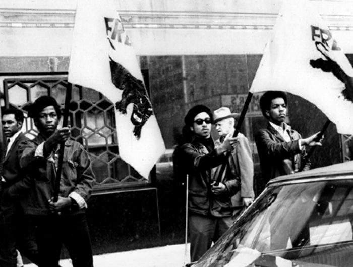 Members of the Black Panthers demonstrate in Detroit, 1968