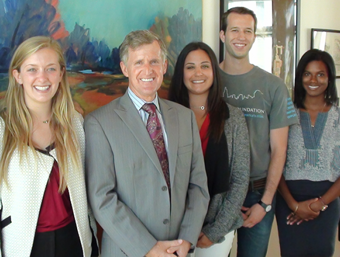 Rip Rapson, President and CEO, The Kresge Foundation with four student interns