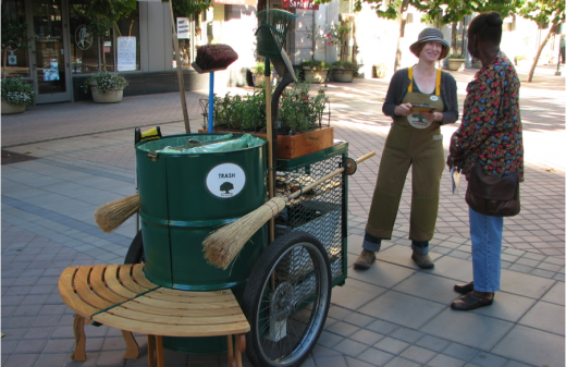 In California's Bay Area, ArtPlace partner the Creative Work Fund has brought together artists and community members to re-envision and improve places. In Oakland, artists who live around small city parks promote stewardship and a sense of pride in those green spaces. Their outreach effort featured a pushcart with gardening supplies.