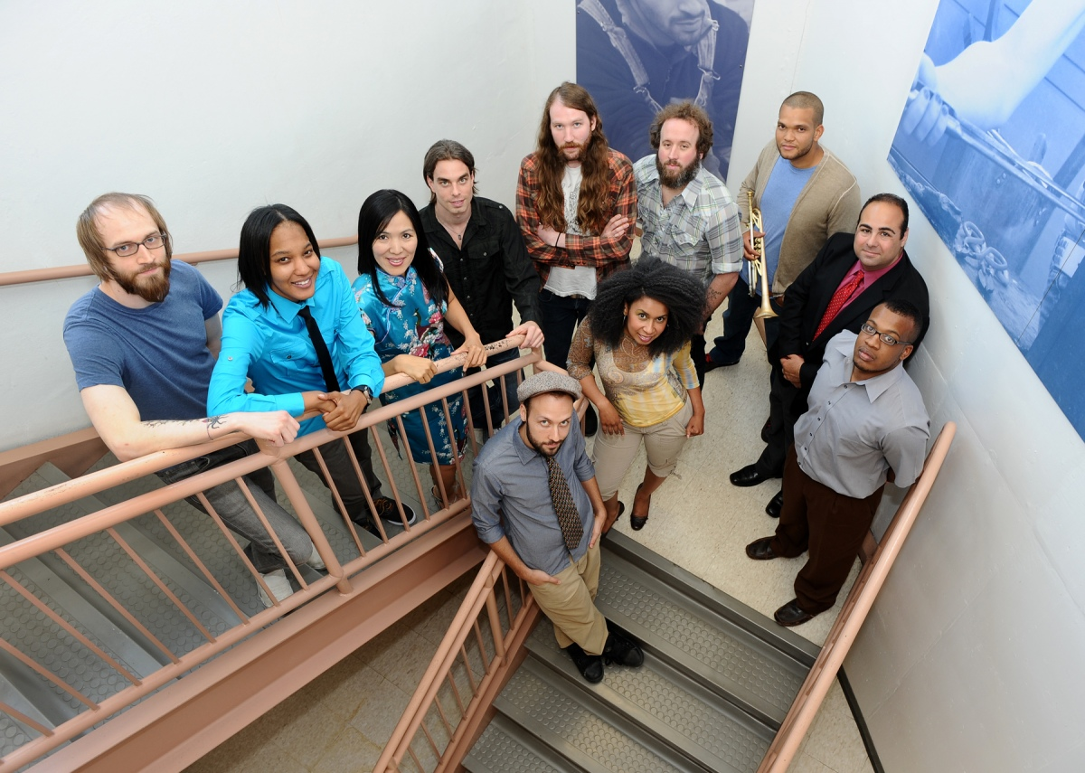 "2012 performing arts fellows: Terry Peake, Natasha ""T"" Miller, Xiao Dong Wei, Bryce Harding (""Mr. Chips""), Chris Pottinger, Don ""Doop"" Duprie, Kris Johnson, Ara Topouzian, Blaksmith of Passalacqua, and (center front) Maria Costa and ""Mister"" of Passalacqua."