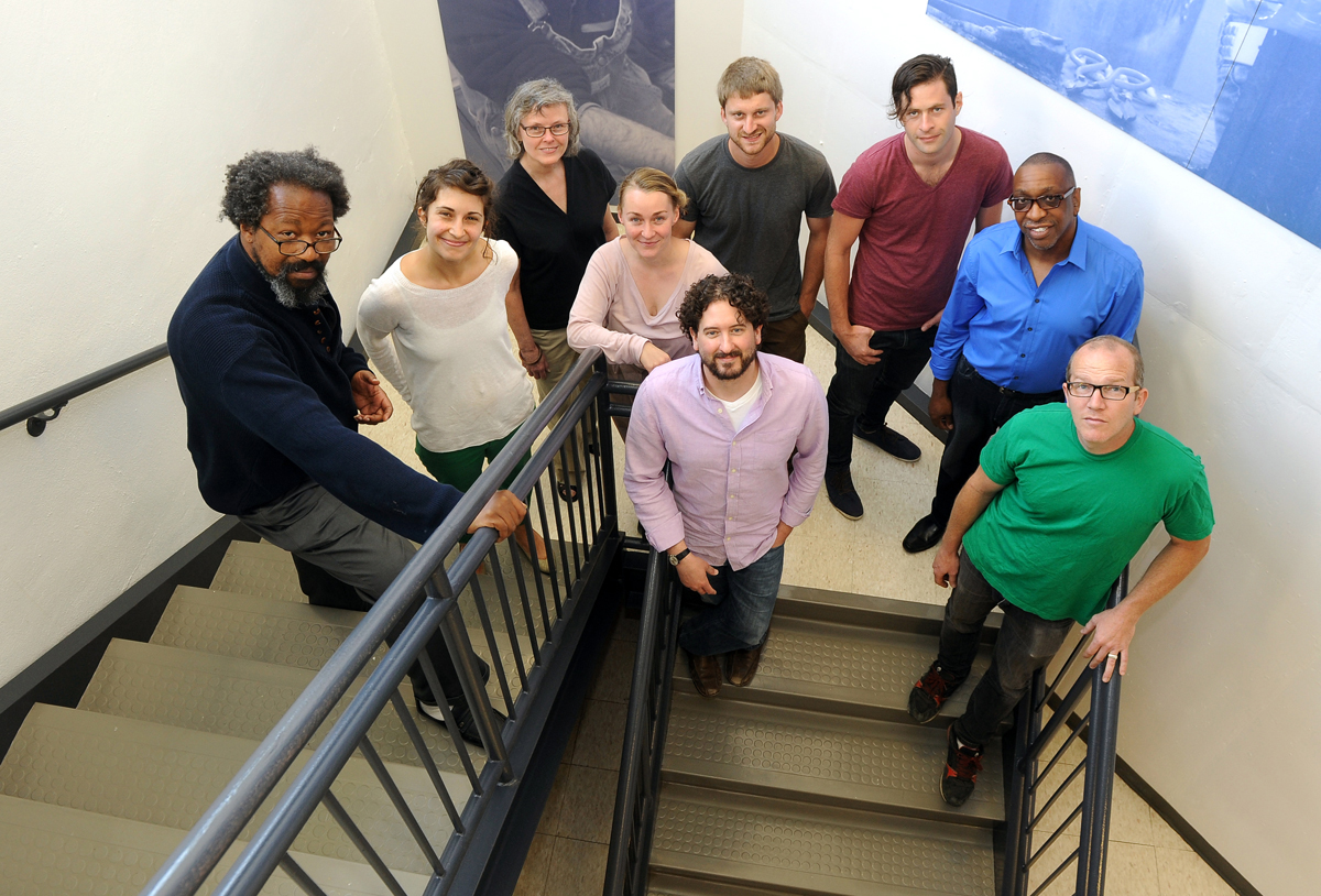 The 2013 Visual Arts Fellows: (from left, back row)  Bryant Tillman, Kate Daughdrill, Constance Bruner, Charles O'Geen, Oren Goldenberg, Carlton Wilson, Jon Brumit; (in the middle) Marie Hermann, Jason Carter.