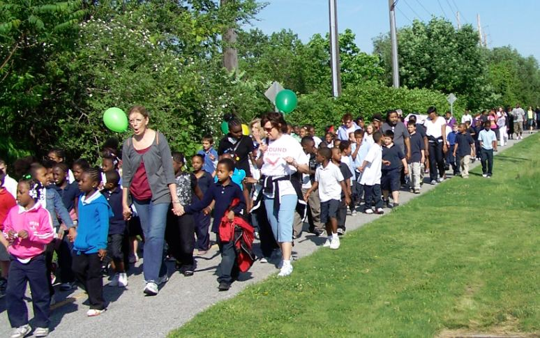 """Events like """"walk to school"""" days promote use of pathways."""