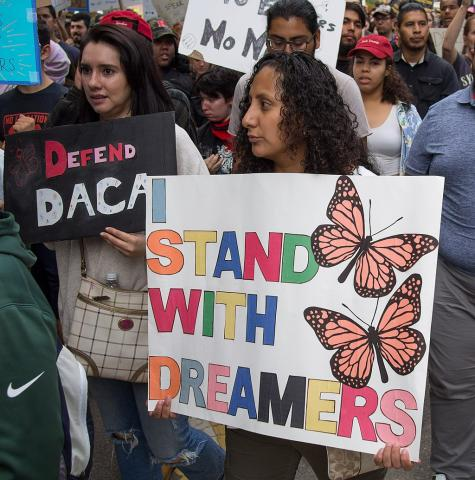 Protesters rally in response to the Trump Administration's attempt to rescind DACA (Deferred Action For Childhood Arrivals).