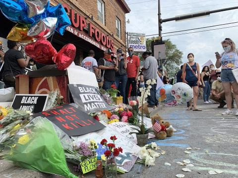 On May 26, 2020, people protested against police violence after the death of George Floyd in Minneapolis, Minnesota. A memorial was made outside Cup Foods, where Floyd was killed.