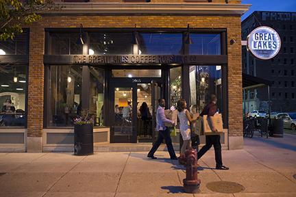 Midtown Detroit Great Lakes Coffee storefront people walking