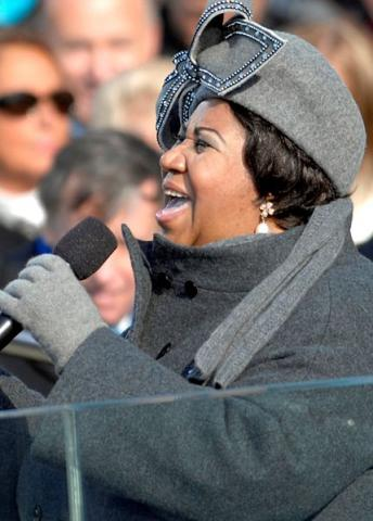 Aretha Franklin performs at Obama inauguration, 2009.