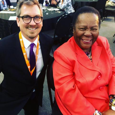 Kresge Foundation Education Program Managing Director Bill Moses poses with South Africa's Minister of Higher Education and Training Naledi Pandor.