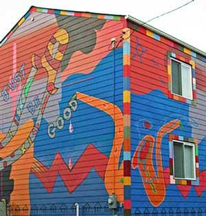 Jazz House painted with multicolored murals