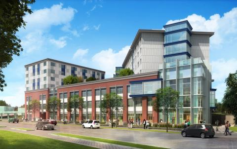 This rendering shows what the finished Conway Center in Washington, D.C., will look like. The $90-million Center broke ground this summer and received $34 million through the Healthy Futures Fund. It will include 202 apartments for low-income residents and a state-of-the-art health center that will serve more than 15,000 patients a year. It also includes an on-site job-training center, as well as shops, offices and green space.