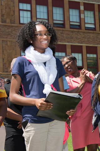 Student receiving scholarship