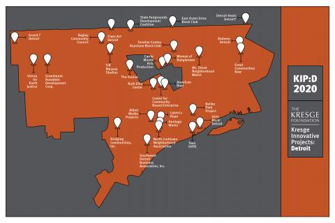 Map of 2020 grantees of Kresge Innovative Projects: Detroit