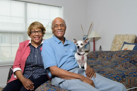 Jewels and Billy Gines, with pet China, at their home in Detroit's Hartford Village.