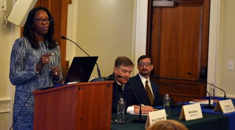 "Environment Senior Program Officer Jalonne White-Newsome participates in the panel presentation on ""Green Infrastructure: A Blueprint for Climate Resilient Communities."""