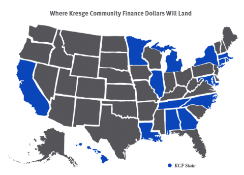 States where the latest Kresge Community Finance grants will fund work