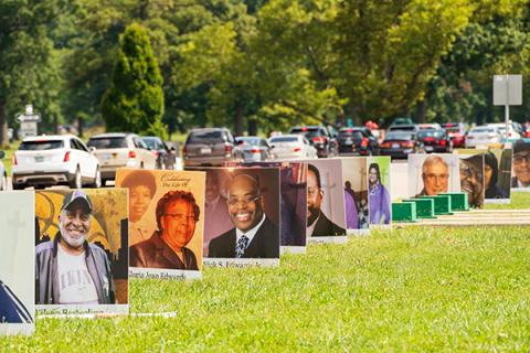 Detroit victims of COVID-19 were honored on Belle Isle during a drive-through memorial earlier this month. (Photo by Ryan Southen Photography for The Kresge Foundation)