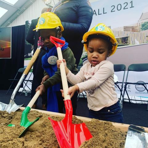 Young childrenfrom Starfish Family Services grabbed shovels and took part in the groundbreaking for the early childhood center.