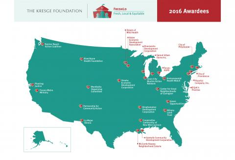 A map of Kresge #FreshLo Awardees