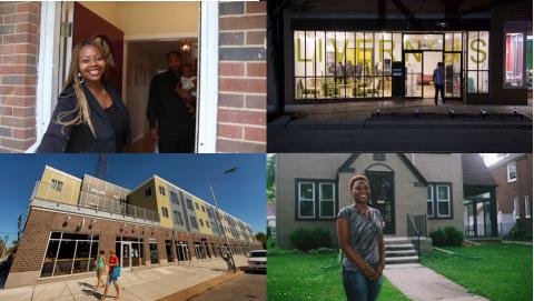 Four images: woman at front door, storefront on Livernois, building, woman in front of house