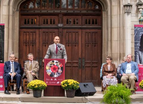 Detroit Public Schools Community District Superintendent Nikolai Vitti announces plans for a K-12 school on Detroit's Marygrove campus.