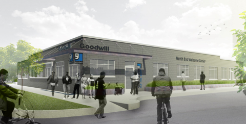 Artist's rendering of Goodwill Industries' planned North End Welcome Center in Detroit