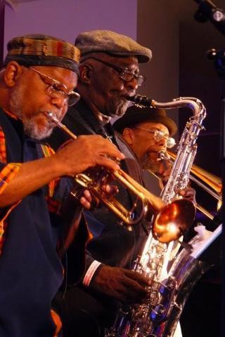 Trumpeter Marcus Belgrave, saxophonist Wendell Harrison, trombonist Phil Ranelin in performance
