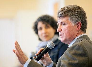 Kresge Foundation President and CEO Rip Rapson talking on microphone