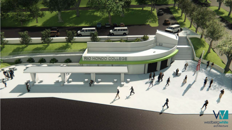 An architect's rendering of transportation center at Rio Hondo College
