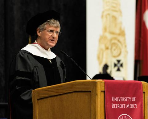 Rip Rapson at University of Detroit commencement