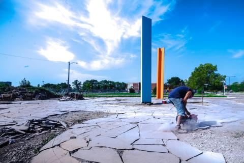A 2015 Kresge Innovative Projects: Detroit grant supported Heritage Works' creation of sculpture in a pocket park commemorating Martin Luther King Jr. and Rosa Parks