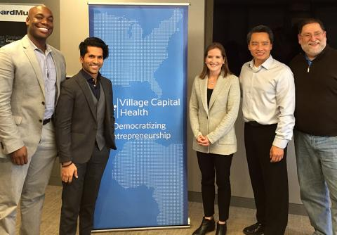 (Left to right) Benjamin Lefever and Huzefa Dossaji of Certintell, Victoria Fram of Village Capital, Alex Go and Len Bargellini of LivWell Health.