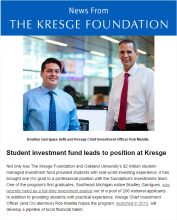 Cover of Kresge newsletter, Aug. 25, 2016