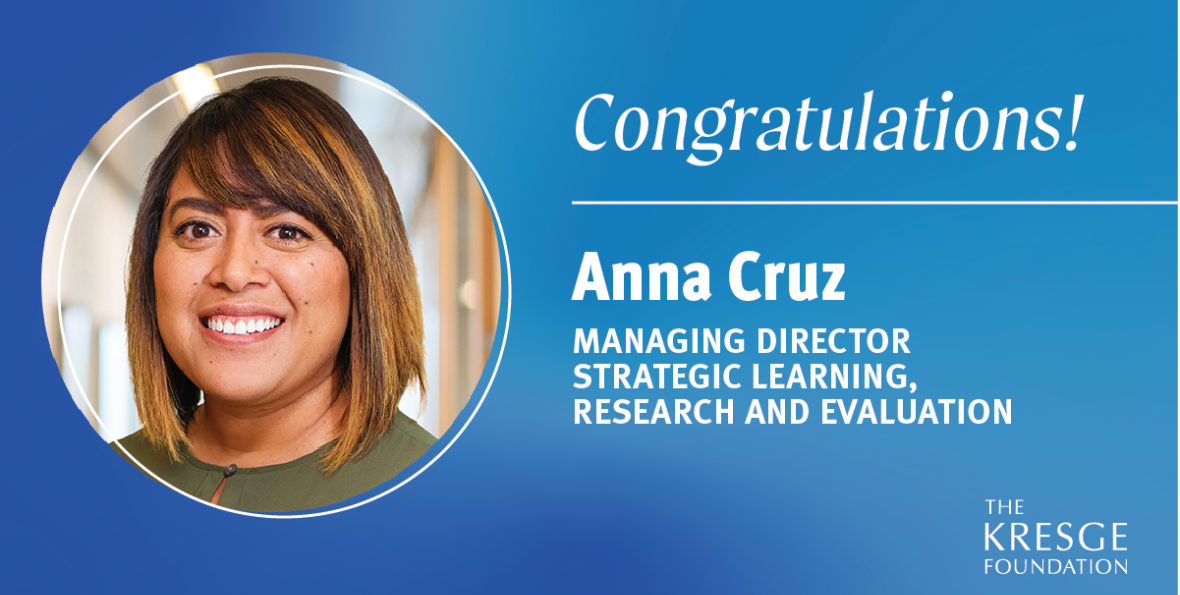 Congratulations! Anna Cruz named Managing Director, Strategic Learning, Research and Evaluation