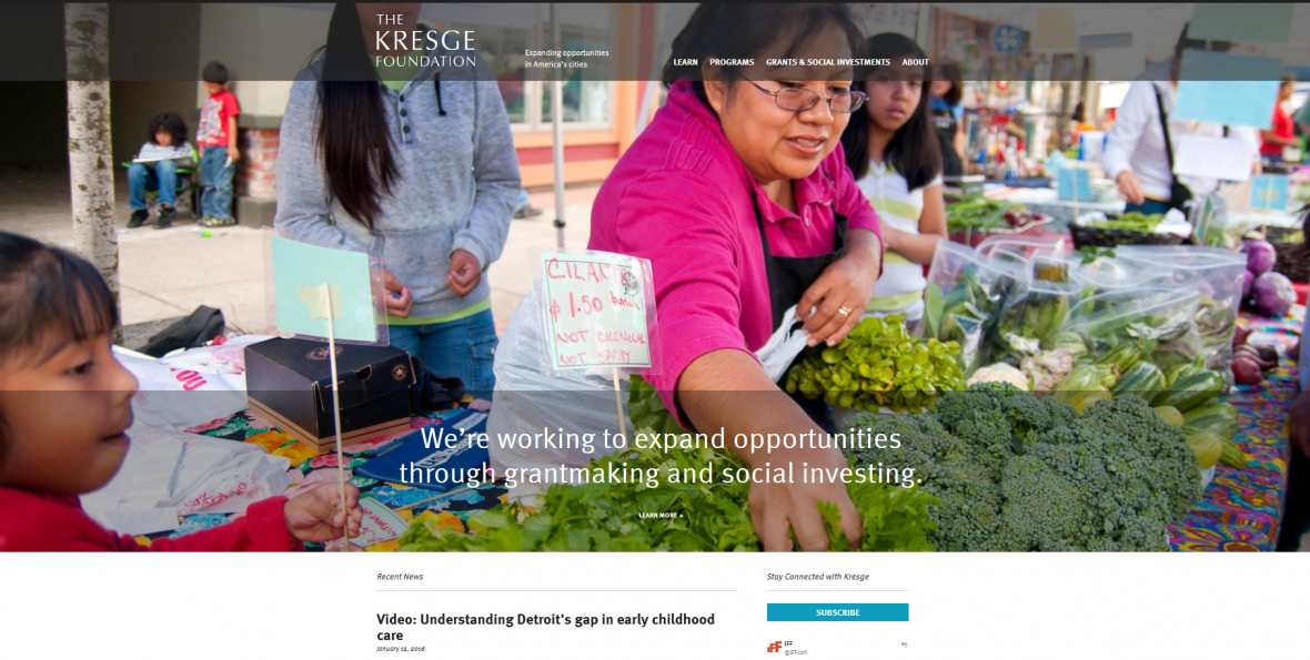 A portion of the home page of the new Kresge.org website.