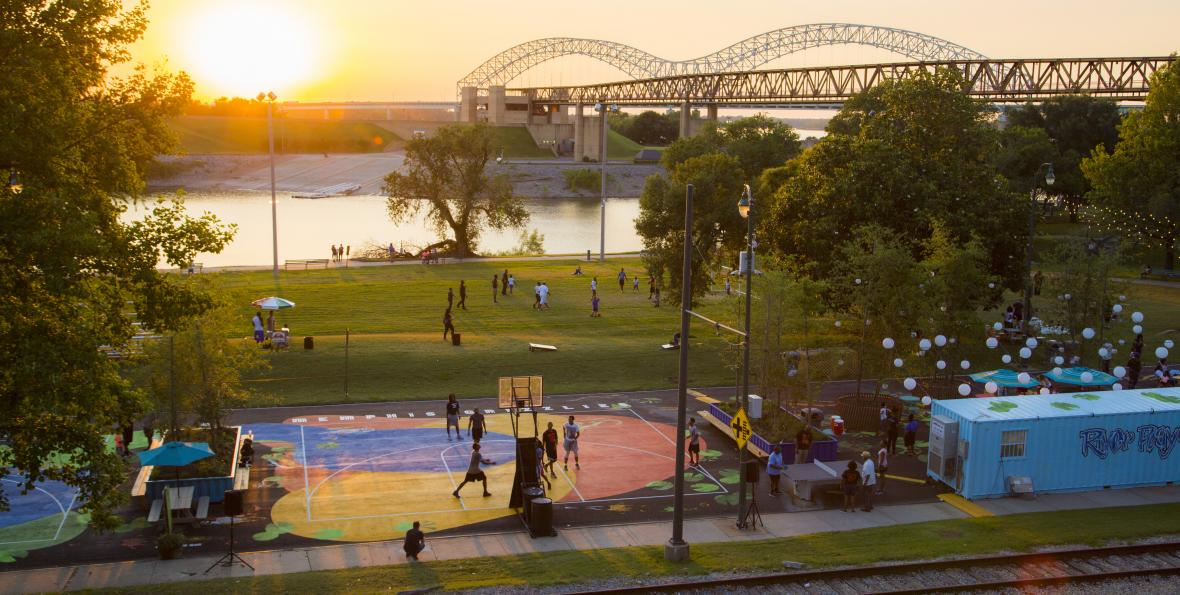 Aerial view of Memphis' Fourth Bluff park, basketball court and river are visible