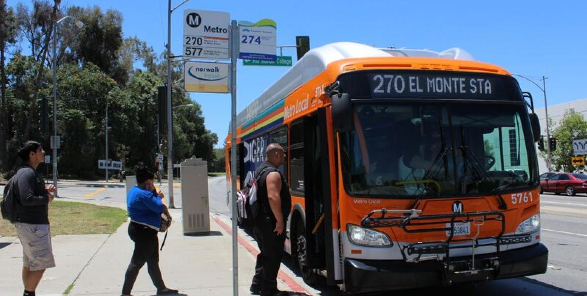 Students board bus near Rio Hondo College campus