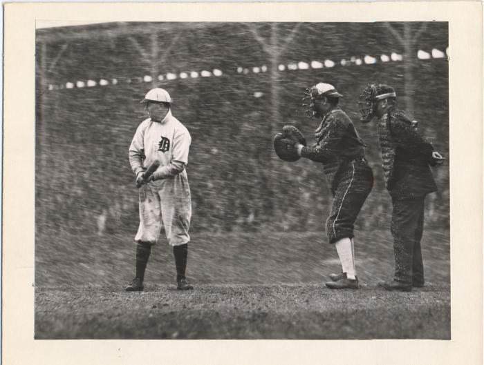 The Tigers' Davy Jones at bat on a snowy Opening Day