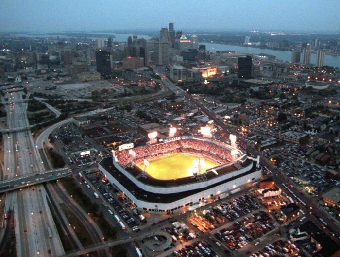 Tiger Stadium, 1990s aerial